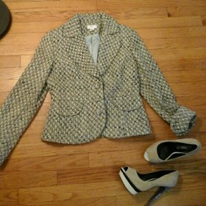 Loft crop tweed blazer